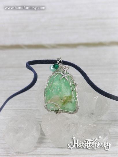 Colgante Crisoprasa, Piedra preciosa verde, Colgantes de Crisoprasa, Collar Crisoprasa