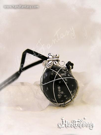 Colgante Obsidiana nevada, Piedra preciosa negra, Colgantes de cuarzo, Collar Obsidiana nevada