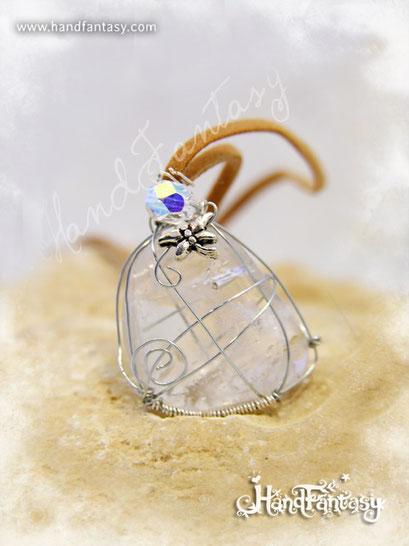 Colgante Cristal de Cuarzo, Piedra preciosa cristal, Colgantes de cuarzo, piedra de cuarzo, Collar de Cuarzo