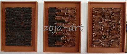 eichhörnchen-tannenzapfen trilogie 3 bilder à 40x55 cm