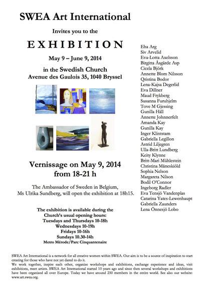 SWEA Art International Exhibition, Svenska Kyrkan, Brussels, Belgium. 2014