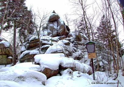 Der Ahrendsklint bei Schierke im Winter