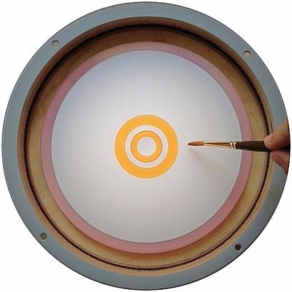 Pinsel mit Farbe einfärben und von der Mitte