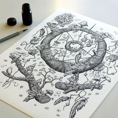 l'attrape rêve : cueillette de champignon, encre de chine sur papier 24X30cm, 2016.
