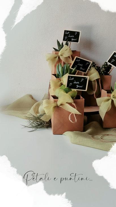 piantine grasse con bustina di carta e lavagnetta bomboniere