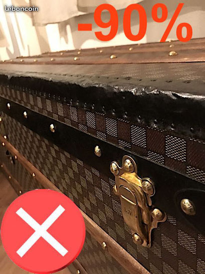 repainted Louis Vuitton canvas trunk