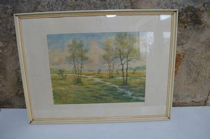 Aquarell von O. Fröhlich. Gerahmt, mit Passepartout und hinter Glas. 61 cm x 45,5 cm. Preis: 39,90