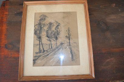 Kohlezeichnung im Rahmen, hinter Glas mit Passepartout. Signiert Schleich. 43,5 cm x 37 cm. Preis: 40,00 €