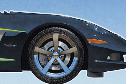 A cool new feature on the personalized version of the drawing is the addition of the tire Good year Eagle F1 lettering