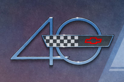 The 40th Anniversary hood emblem is nicely rendered on this C4 Corvette drawn portrait