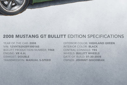 The 2008 Mustang Bullitt factory specifications and personalized information of the car are displayed on the print.
