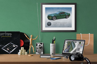 When nicely framed with a black frame with white mattes, let you hang your car drawing on any wall color.