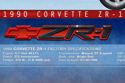 Le texte descriptif inclus les spécifications et de la voiture et les numéros de production de l'exemplaire de la ZR-1