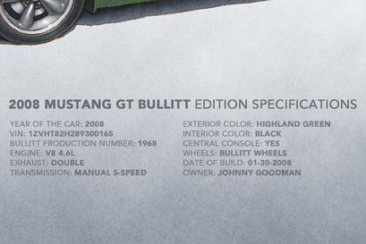Le texte descriptif de la Mustang Bullitt 2008 inclu les spécifications et numéros de production