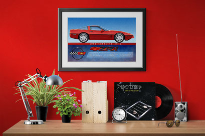 A look of the 1990 Corvette ZR-1 personalized printed drawing in a decoration context of an home office