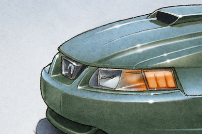 The 2001 Mustang Bullitt is drawn respecting the elements installed at the factory back then.