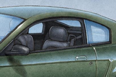 The black interior was standard on the 2001 Mustang Bullitt.