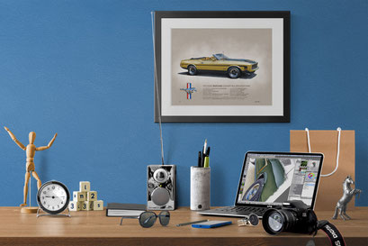 Here is the printed drawing in an home office decorative context