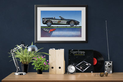 A look of the personalized printed drawing in a decoration context of an home office