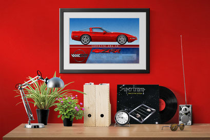 A look of the 1995 Corvette ZR-1 personalized printed drawing in a decoration context