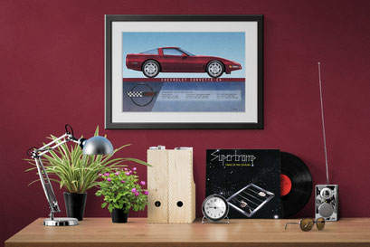 A look of the 1995 - 1996 Corvette coupe personalized printed drawing in a decoration context
