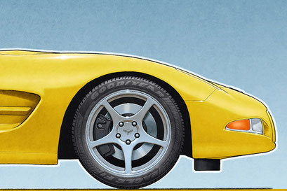 The personalized version of the Corvette C5 drawing includes the Good Year Eagle F1 Supercar tire lettering