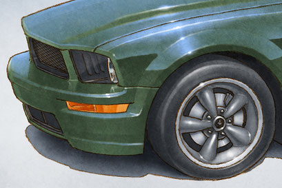 The 2008 Mustang Bullitt is drawn respecting the elements installed at the factory back then.