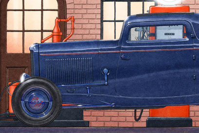 Un Ford 32 modifié est utilisé pour ajouter un peu de vie à la scène.