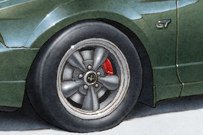 The Bullitt wheels and red calipers are one of the trademarks of the 2001 Mustang Bullitt.