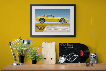 here is the Corvette C5 drawing in a decorative context of an home office