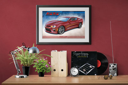 Here is the Camaro SS drawn portrait in a home office decorative context