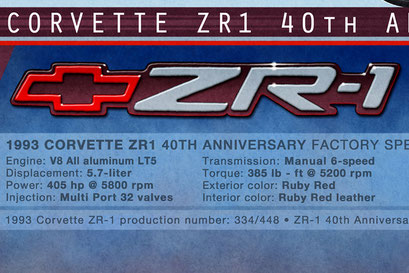 The personalized version of the profile view drawing 1993 Corvette ZR1 40th anniversary profile view drawing