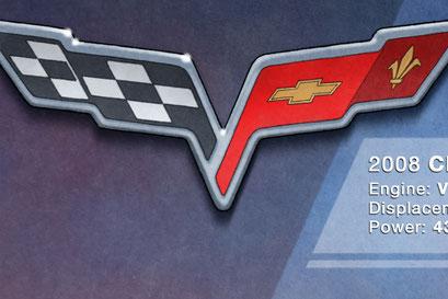 The C6 Corvette fender emblem is nicely rendered on this C6 Corvette artwork