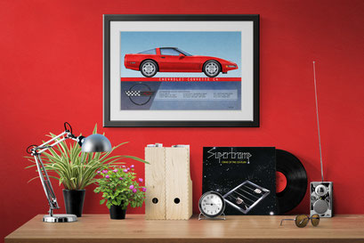 A look of the 1991 to 1994 Corvette coupe personalized printed drawing in a decoration context