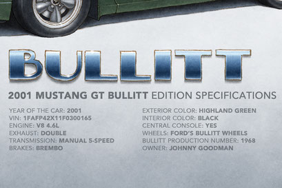 The 2001 Mustang Bullitt factory specifications and personalized information of the car are displayed on the print.