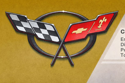 The C5 Corvette decorative emblem is drawn in all its details