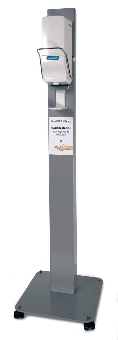 Desinfektionsspender - Station Aufsteller + Desinfektionsmittelspender frei stehend auf Rollen