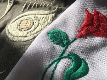 【ハンドステッチ風刺繍】手刺繍のような雰囲気を最新の刺繍機によって表現が可能になりました。ベトジャンなどのゆるい表現にも適した刺繍法。