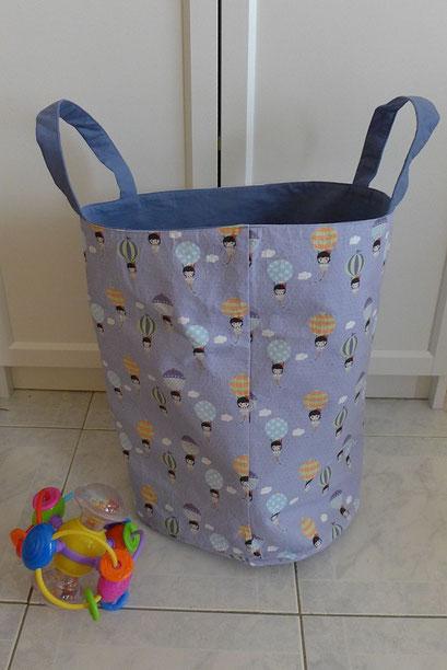 Grand panier à jouet violet montgolfière | Une Embellie