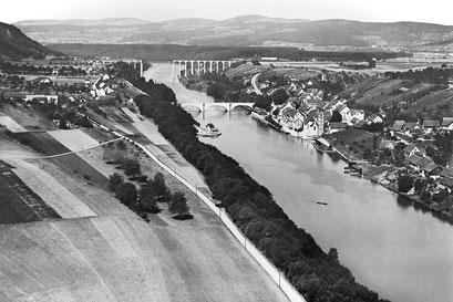 Seglingen (links) und Eglisau (rechts), 1927 aus Südosten