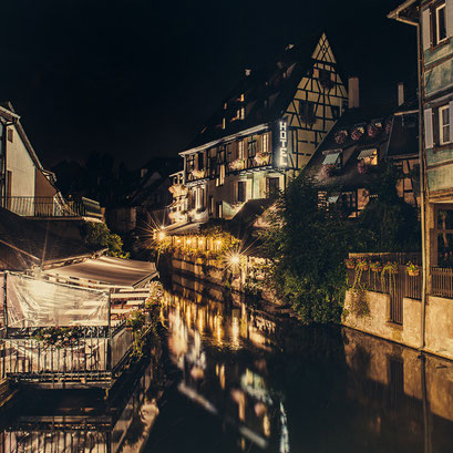 Petite Venise @ night in color, Colmar. Elsass. France 2015
