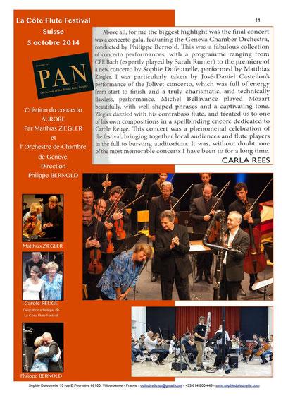 Création Concerto Aurore avec/with Matthias Ziegler, Philippe Bernold et/and Orchestre de Chambre de Genève/Geneve Chamber Orchestra - 2015/10/05 La Côte Flute Festival Suisse/Switzerland