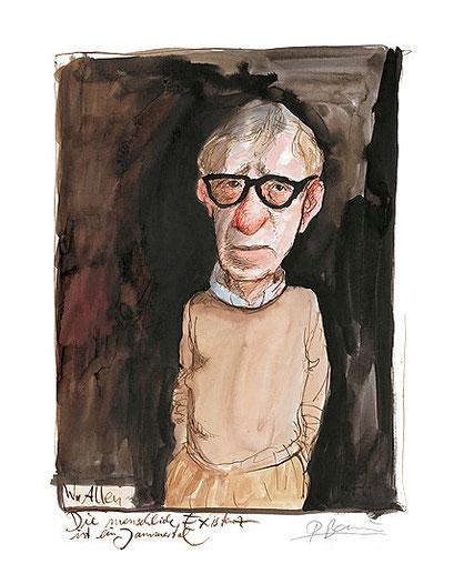 Peter Bauer, Rostock, Karikatur  »Woody Allen. Die menschliche Existenz ist ein Jammertal« (Aus dem Buch Peter Bauer »Zeichnungen 2000-2011«)