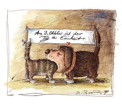 Peter Bauer, Rostock, Cartoon »Am 3. Oktober ist der Tag der Einheit« (Aus dem Buch »Peter Bauer Katzen«)