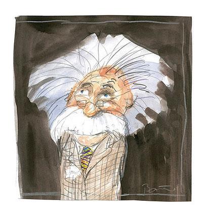 Einstein (Bleistift, Aquarell)