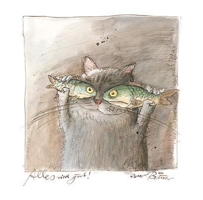 Peter Bauer, Rostock, Cartoon »Alles wird gut!« (Aus dem Buch »Peter Bauer Katzen«)