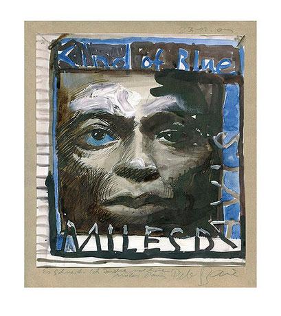 Peter Bauer, Rostock, Karikatur »Miles Davis , Kind of Blue«
