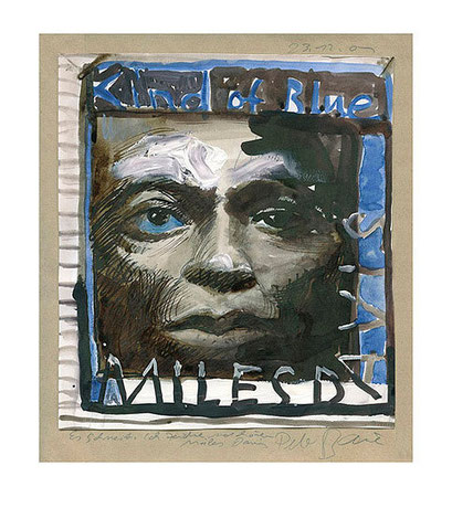 Peter Bauer, Rostock, Karikatur »Miles Davis , Kind of Blue«