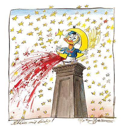 Peter Bauer, Rostock, Cartoon »Schluss mit lustig! (Aus dem Buch »Peter Bauer Vögel«)