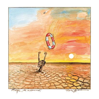 Peter Bauer, Rostock Cartoon »Hilfe, die ankommt« (Aus dem Buch Peter Bauer »Zeichnungen 2000-2011«